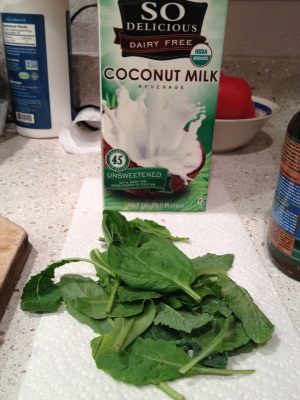 Coconut milk and kale! Yay!