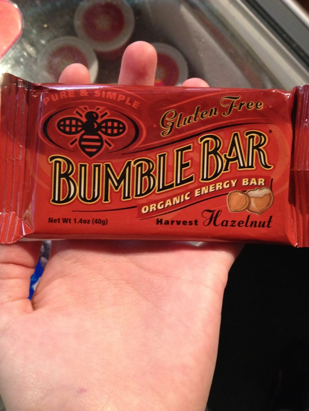 Hazelnut flavored bumble bar. Yummy!