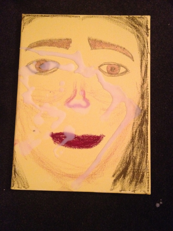 Title: Sofia with Brainfog. Medium: Acrylic paint, oil pastels, and candlewax on stretched canvas. 2014.